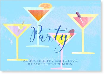 Einladungskarten Geburtstag, Cocktail Party in Blau