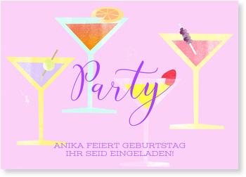 Einladungskarten Geburtstag, Cocktail Party in Lila