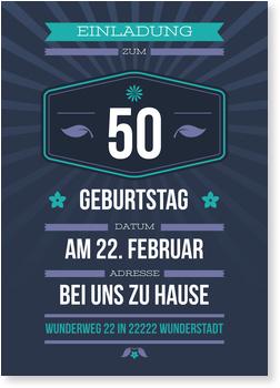 Einladungskarten 50. Geburtstag, Dezenter Schein in Violett