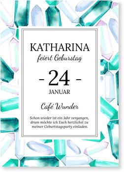 Einladungskarten Geburtstag, Diamonds are forever in Türkis