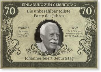 Einladungskarten 70. Geburtstag, Dollarschein