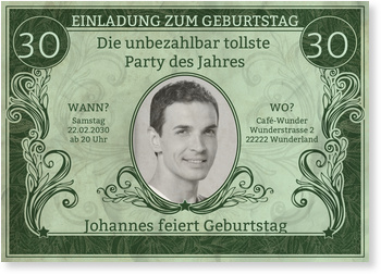 Einladungskarten 30. Geburtstag, Dollarschein in Grün