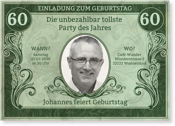 Einladungskarten 60. Geburtstag, Dollarschein in Grün