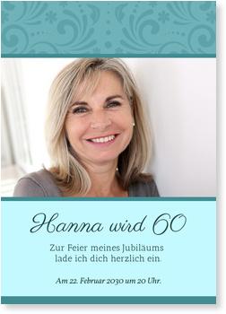 Einladungskarten 60. Geburtstag, Elegante Zierde in Blau