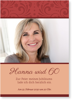 Einladungskarten 60. Geburtstag, Elegante Zierde in Rot