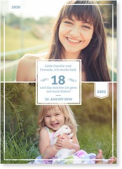 Einladungskarten Geburtstag, Früher und Heute in Blau-Grau