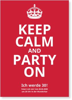 Einladungskarten Geburtstag, Keep Calm