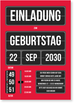Einladungskarten 50. Geburtstag, Klappanzeige in Rot