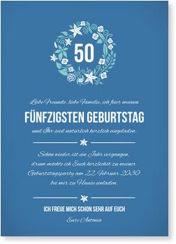 Einladungskarten 50. Geburtstag, Kleiner Blumenkranz in Blau