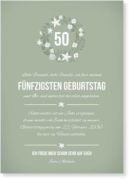 Einladungskarten 50. Geburtstag, Kleiner Blumenkranz in Grün