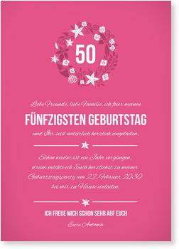 Einladungskarten Geburtstag, Kleiner Blumenkranz