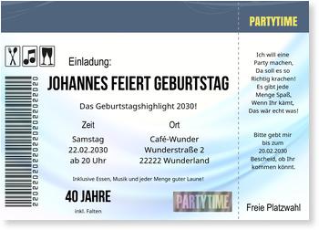 Einladungskarten 40. Geburtstag, Konzertkarte