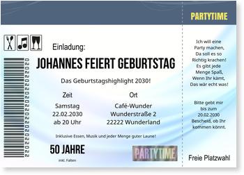 Einladungskarten 50. Geburtstag, Konzertkarte