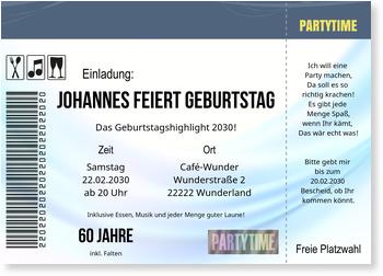 Einladungskarten 60. Geburtstag, Konzertkarte