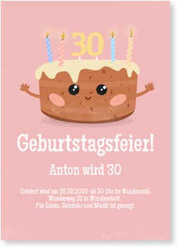 Einladungskarten Geburtstag, Kuchen in Rosa