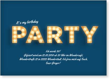 Einladungskarten Geburtstag, Lichtreklame in Blau