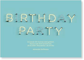 Einladungskarten Geburtstag, Neonreklame