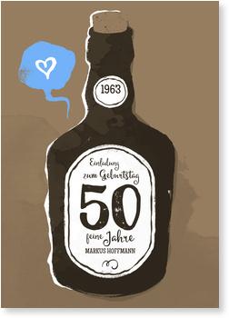 Einladungskarten 50. Geburtstag, Old whiskey in braun
