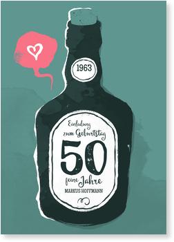 Einladungskarten 50. Geburtstag, Old whiskey in türkis