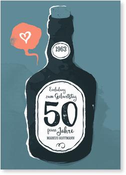 Einladungskarten 50. Geburtstag, Old whiskey