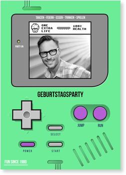 Einladungskarten Geburtstag, Partygame in Grün