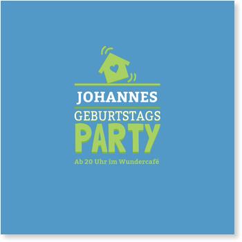 Einladungskarten 50. Geburtstag, Partyhouse in Blau