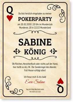 Einladungskarten Geburtstag, Pokerkarte - Frau