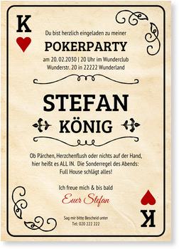 Einladungskarten 50. Geburtstag, Pokerkarte