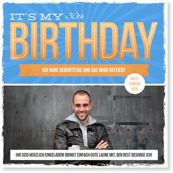 Einladungskarten Geburtstag, Retrotypo in Blau