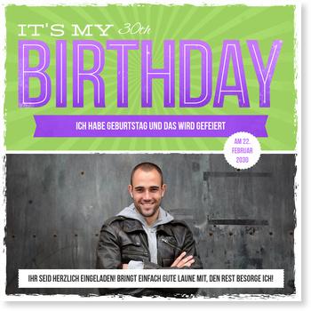 Einladungskarten Geburtstag, Retrotypo in Grün