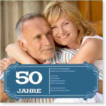 Einladungskarten 50. Geburtstag, Schild in Blau