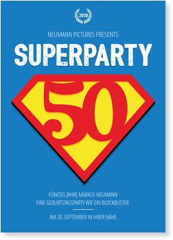 Einladungskarten 50. Geburtstag, Superparty