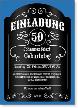 Einladungskarten 50. Geburtstag, Whiskey in Blau