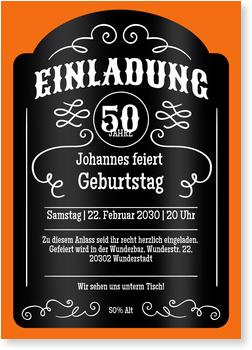 Einladungskarten 50. Geburtstag, Whiskey