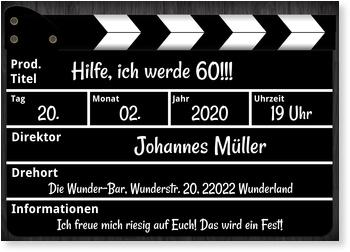 Einladungskarten 60. Geburtstag, Regieklappe