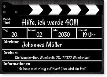 Einladungskarten Geburtstag, Regieklappe