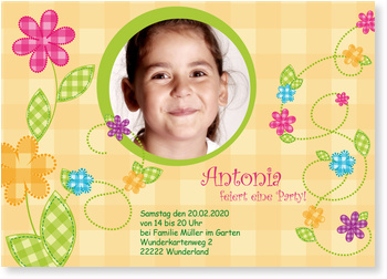 Einladungskarten Kindergeburtstag, Karierte  Blümchen