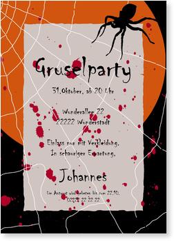 Einladungskarten Halloween , Gruselspinne
