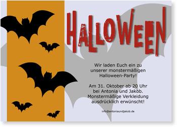 Einladungskarten Halloween , Tanz der Fledermäuse