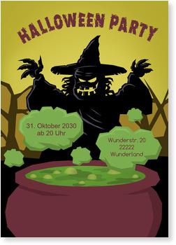 Einladungskarten Halloween , Halloween - Gruselige Hexe