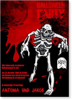 Einladungskarten Halloween , Halloween - Skelett