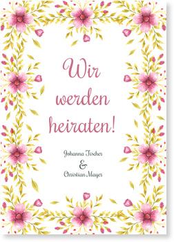 Einladungskarten Hochzeit, Blütenfest
