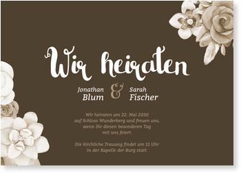 Einladungskarten Hochzeit, Blumenarrangement in Sepia