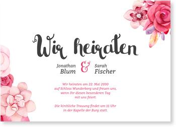 Einladungskarten Hochzeit, Blumenarrangement