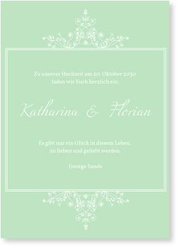 Einladungskarten Hochzeit, Elegante Zeit in Mint