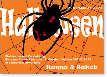 Einladungskarten Halloween , Horrorspinne