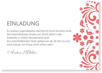 Einladungskarten Jugendweihe, Elegante Einladung in Rot