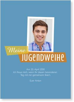 Moderne Einladung in Blau Einladungskarten Jugendweihe