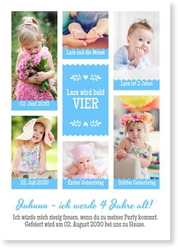 Einladungskarten Kindergeburtstag, Bildergalerie in Blau