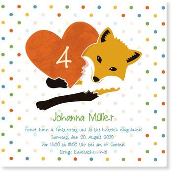 Einladungskarten Kindergeburtstag, Fuchsherz